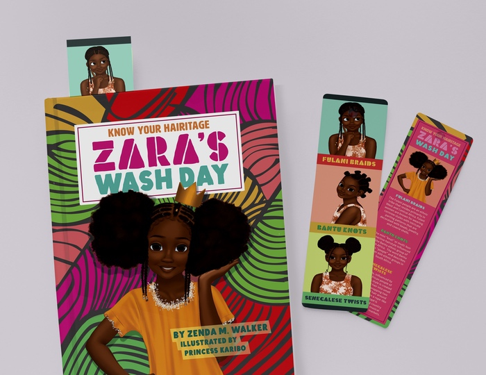 zara's wash day bookmark mockup image